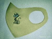 Маска з вишивкою Котик