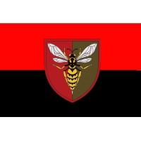 Прапор 38 Зенітний Ракетний Полк (червоно-чорний з шевроном)