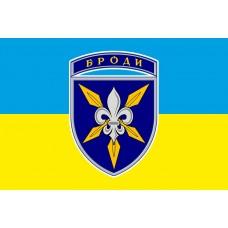 Прапор 16 окрема бригада армійської авіації жовто-блакитний з нарукавним знаком