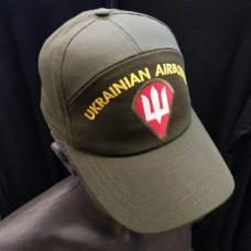 Бейсболка з вишивкою Тризуб ДШВ Ukrainian Airborne (олива)