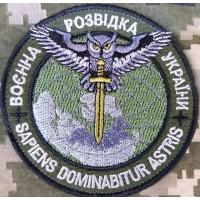 Шеврон Воєнна Розвідка України. Знак Сова з мечем (олива)