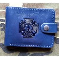 Шкіряний гаманець ВМСУ (синій, лаковий)