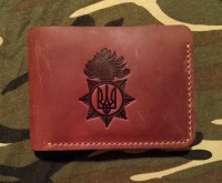 Шкіряний гаманець-кардхолдер НГУ (рудий)