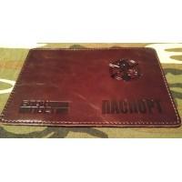 Обкладинка на Паспорт тиснення новий знак Піхота ЗСУ (коричнева, лакова)