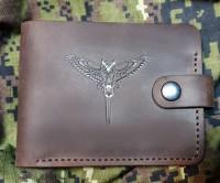 Шкіряний гаманець Військова Розвідка Сова з мечем (коричневий)