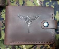 Купить Шкіряний гаманець Військова Розвідка Сова з мечем (коричневий) в интернет-магазине Каптерка в Киеве и Украине