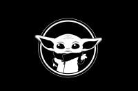 Прапор Baby Yoda (чорний)