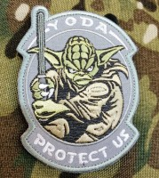 Патч Yoda Protect Us (сірий)