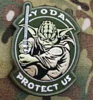 Патч Yoda Protect Us (олива)