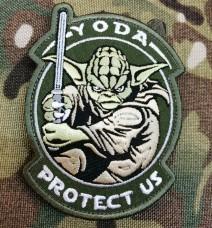 Купить Патч Yoda Protect Us (олива) в интернет-магазине Каптерка в Киеве и Украине