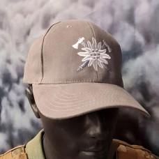 Бейсболка з вишивкою Едельвейс Гірська Піхота сіра