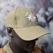 Бейсболка з вишивкою Едельвейс Гірська Піхота світла олива