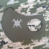 Маска з вишивкою Гірські бригади (знак Едельвейс з бартками) Колір на замовлення, олива, чорний