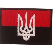 Нашивка прапор України з гербом (червоно чорний)