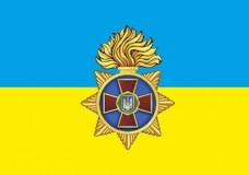 Прапор Національна Гвардія України (жовто-блакитний з символом)