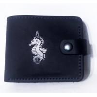 Шкіряний гаманець з символикою 73 МЦ СО ССО України Колір темно синій