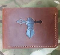 Шкіряний гаманець-кардхолдер Танкові Війська (руда) Спеціальна ціна