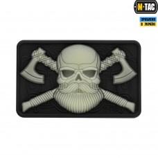 PVC патч M-TAC BEARDED SKULL 3D BLACK/СВЕТОНАКОПИТЕЛЬ