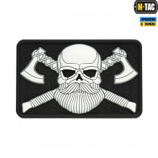 PVC патч M-TAC BEARDED SKULL 3D BLACK/WHITE