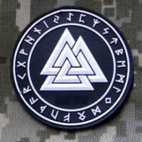 Шеврон Valknut in Odin Ring PVC Black