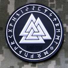 Шеврон Valknut in Odin Ring PVC Black