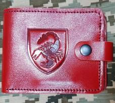Шкіряний гаманець з символикою 19 ОРБр (червоний)