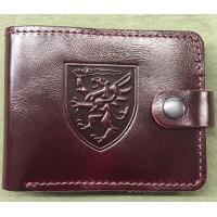 Шкіряний гаманець з символікою 80 ОДШБр ДШВ України (руда шкіра)