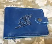 Шкіряний гаманець Авіація ЗСУ (синя лакова шкіра) 2 сорт