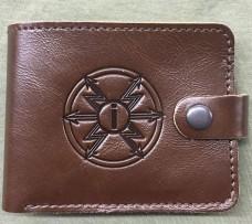 Шкіряний лаковий гаманець знак Радіотехнічних Військ та Військ Зв'язку