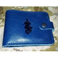 Шкіряний гаманець з символикою 73 МЦ СО ССО (синя лакова шкіра)