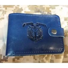 Шкіряний гаманець з символікою Морської Піхоти України Синя лакова шкіра