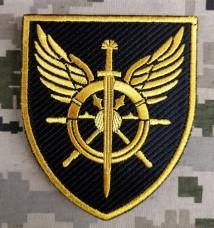 Нарукавний знак Служба військових сполучень ЗСУ Чорний-Жовтий