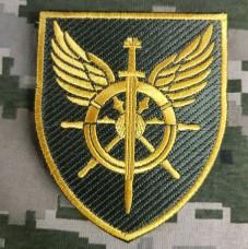 Нарукавний знак Служба військових сполучень ЗСУ Олива-Жовтий