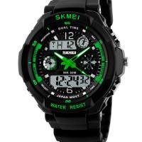 Часы S-Shock Skmei 0931 - два независимых циферблата. Зеленые АКЦИЯ