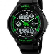 Часы S-Shock Skmei 0931 - два независимых циферблата. Зеленые