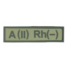 Нашивка группа крови A(II) Rh(-) резина, олива