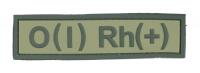 Нашивка группа крови O(I) RH(+) резина, олива