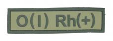 Нашивка група крові O(I) RH(+) PVC, олива