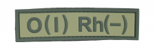 Нашивка группа крови O(I) RH(-) резина, олива