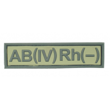 Нашивка группа крови АB (IV) Rh (-) резина, олива