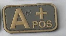 Нашивка группа крови A+ pos резина coyot