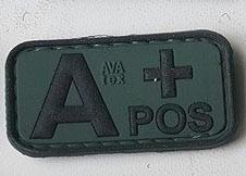 Нашивка группа крови A+ pos резина олива