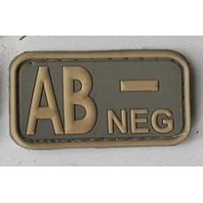 Нашивка группа крови AB- neg резина coyot