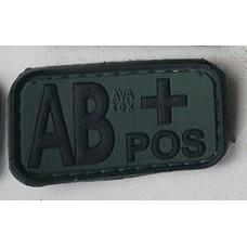 Нашивка группа крови AB+ pos резина олива