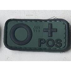 Нашивка группа крови О+ POS резина олива