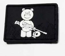 """Нашивка """"Мишка снайпер"""" Teddy Bear PVC черн-белый"""