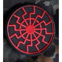 Нашивка Черное Солнце вышивка красно-черная