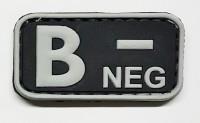 Нашивка группа крови B- neg резина черная
