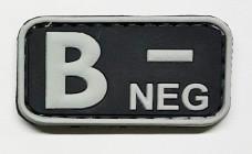 Купить Нашивка група крові B- neg резина чорна в интернет-магазине Каптерка в Киеве и Украине