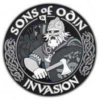 Шеврон SONS OF ODIN 3D ПВХ чорно-сірий